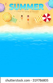 Beach with colorful umbrellas, towels, people and SUMMER sign, vector leaflet template