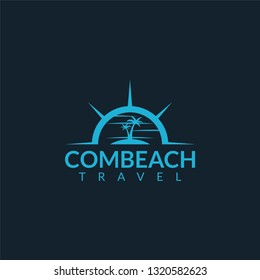 Beach and compass logo combination, design inspiration vector template for company