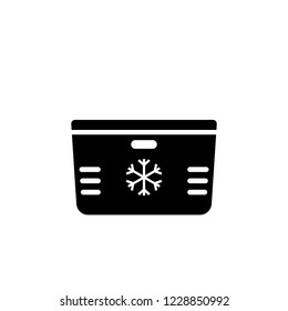 Beach cooler box silhouette icon. Picnic clipart isolated on white background