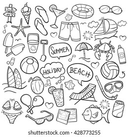 Beach Day Doodle Icons Hand Made. Clip Art Vector Sketch Illustration.