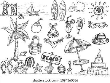 beach, doodle sketch
