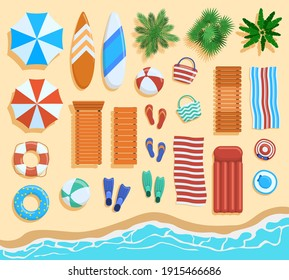 Beach elements top view. Sandy beach elements, tropical palms, chairs, umbrellas view from above. Ocean beach coastline objects vector illustration. Ocean beach sand coast with umbrella and chairs