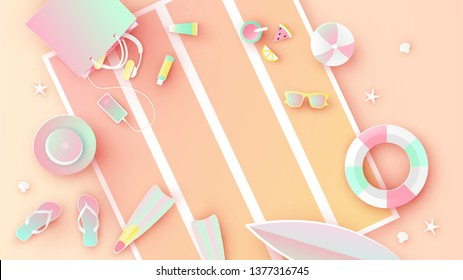 Beach equipment with swim ring, sunglasses, sunscreen, sandals, surfboard, smartphone, flippers, bag, ball, hat, and juice placed on the beach blanket. paper cut and craft style. vector, illustration.