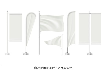 Beach flag. Advertising blank surface promotion signboard retail markets banners vector realistic mockup collection. Illustration of display advert, flag billboard