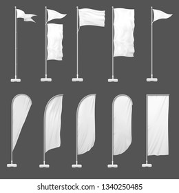 Beach flag. Outdoor banner on flagpole, stand blank flags and empty advertising beachfront banners. Marketing beach realistic signboard. 3d template vector illustration isolated icons set