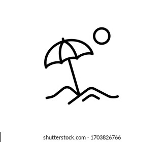 Beach flat icon. Thin line signs for design logo, visit card, etc. Single high-quality outline symbol for web design or mobile app. Beach outline pictogram.