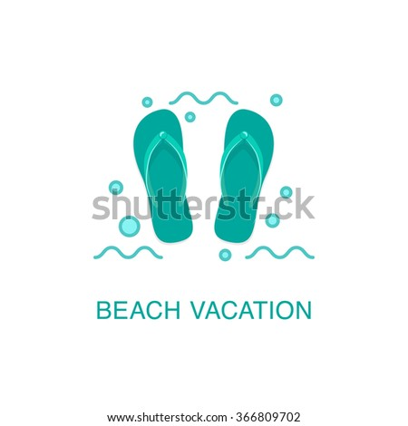 1a80bd1330a87d Beach Flipflop Icon Summer Vacation Illustration Stock Vector ...