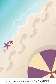 Beach with footprints, starfish and sun umbrella. Vector illustration
