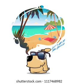 To the beach. Funny vector illustration with animal character and beach scene.
