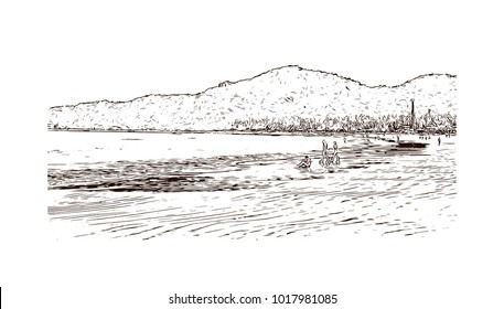 Beach in Goa, India. Hand drawn sketch illustration in vector.