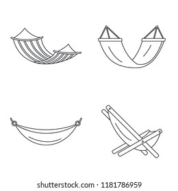 Beach hammock icon set. Outline set of beach hammock vector icons for web design isolated on white background