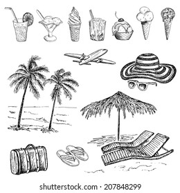 beach. hand drawing set of vector sketches