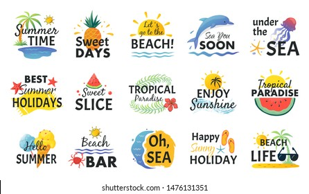Beach hand drawn stickers. Summer vacation doodle labels, tropical travel logos and icons. Vector illustrations party card sketch set with refreshing fruits
