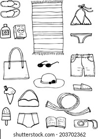 Beach Hand drawn vectors with icons of things to take for a day at the beach