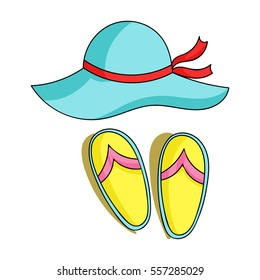 Beach hat with flip-flops icon in cartoon style isolated on white background. Family holiday symbol stock vector illustration.