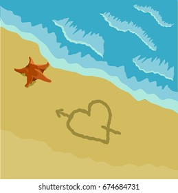 Beach with Heart and Star fish