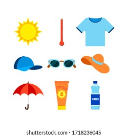 Beach and heat stroke prevention infographic icon set. Thermometer, t-shirt, cap, sunglasses, hat, umbrella, bottle of water, sunscreen symbol collection. Vector flat design cartoon style illustration