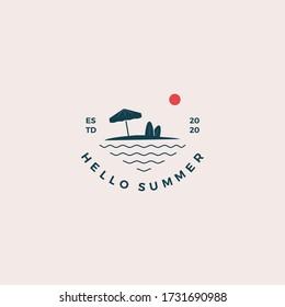 Beach hello summer logo design vector illustration