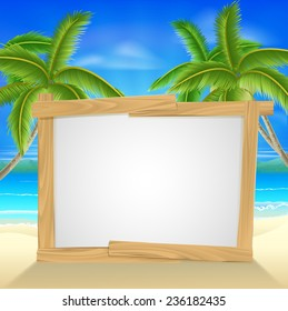 Beach holiday or vacation palm tree sign of a wooden sign on a tropical beach. Could also be used for a beach party invite.