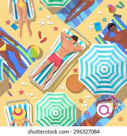Beach holidays seamless background. Relaxation and summer, tourism and rest, relax outdoor, comfortable leisure, vector illustration