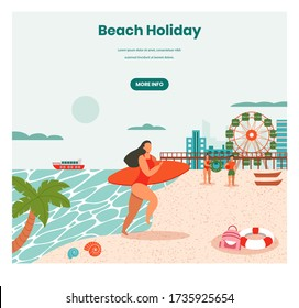 Beach holidays vector web banner template. Young woman coming out of the sea with surfboard, retro flat style design illustration. Summer holidays, tropical vacation, surfing, beach water activities.