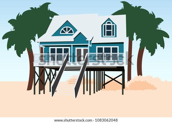 Beach House Design Stock Vector (Royalty Free) 1083062048