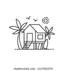 Beach house vector illustration outline style