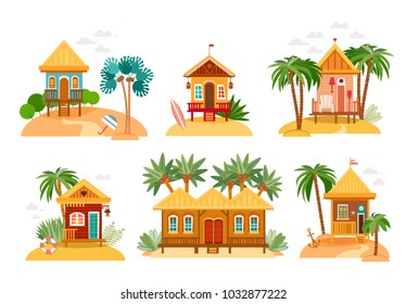 Beach houses collection. Cartoon set of straw huts, bungalow for tropical hotels on island in flat design