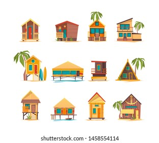 Beach houses. Funny buildings for summer vacation tropical bungalow cabins and constructions vector. Summer vacation bungalow, tourism building on sea coast illustration