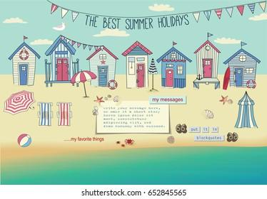 Beach Houses - Neat row of tiny huts and cabanas on a sandy beach