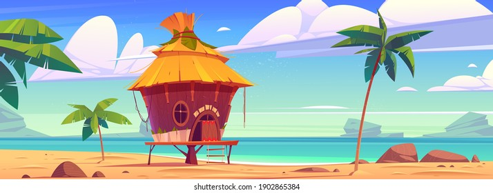 Beach hut or bungalow on tropical island resort, summer shack, wooden house on piles with terrace, palm trees and ocean landscape. Wooden private cottage with thatch roof Cartoon vector illustration