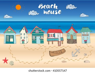 Beach huts and bungalows, hand drawn outline color doodle set with light house wooden boat and anchor, seashells and footsteps on sandy beach, vector illustration.