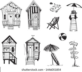 beach huts by the sea, set of beach life icons, vector sketch.