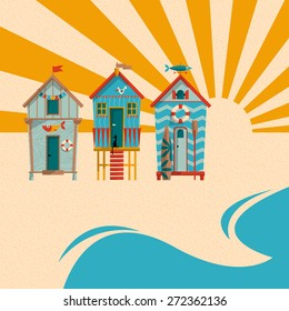 Beach huts with sand, sea and sun in the background. Summer holiday. Vector illustration