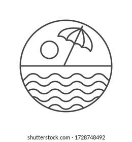 Beach icon. Outline thin line flat illustration.
