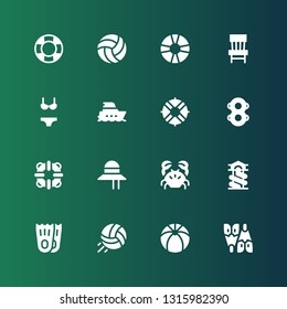 beach icon set. Collection of 16 filled beach icons included Flipper, Beach ball, Volleyball, Flippers, Slide, Crab, Pamela, Lifesaver, Floats, Lifeguard, Yacht, Bikini, Chair