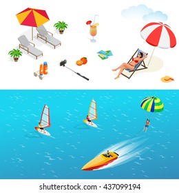 Beach icon set. Girl in a swimsuit on a deck chair, orange juice, sun umbrella, palm, sun glasses, photo, photo camera, sun hat, sun cream. Flat 3d vector isometric illustration.