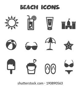 beach icons, mono vector symbols