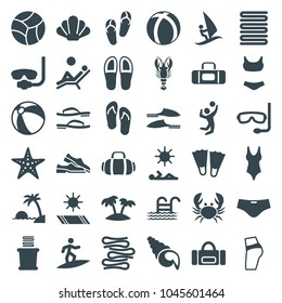 Beach icons. set of 36 editable filled beach icons such as beach ball, flip flops, towels, slippers, underwater mask, flippers, booty fitness, swim suit, sport bag, palm