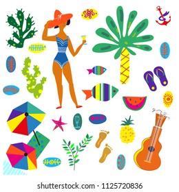 Beach icons set, funny bright design, vector graphic illustration