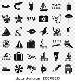 Beach icons set. Simple style of 36 beach vector icons for web for any design