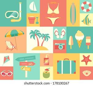Beach icons set. Vector illustration.