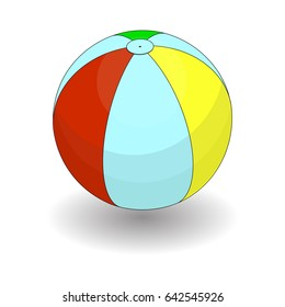 Beach Inflatable Ball Color Icon Symbol Design. Vector illustration isolated on white background. Simple Summer Inflatable Ball