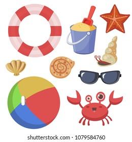 beach items set. life ring, seashells, crab, sand bucket, sunglasses, beach ball, starfish. vector illustration on white background.