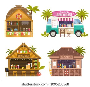 Beach juice bars with smoothies, soft drinks and refreshing beverages. Beach restaurants and food truck selling fruit shakes, ice-cream and cocktails. Tropical tiki bar hut, bungalows on ocean coast.