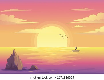 beach landscape illustration - vector file