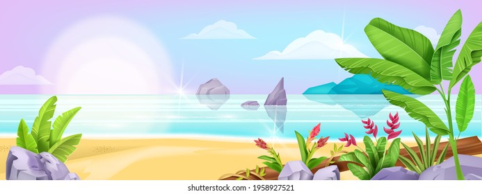 Beach landscape, jungle tropical vector background, paradise resort seashore illustration, sand, rock, leaf. Summer exotic ocean vacation view, nature holiday panorama. Beach landscape, sun, clouds