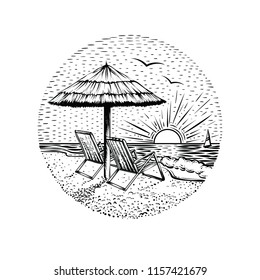 Beach landscape with parasol and two chairs. Black line graphic illustration on white backgraund. Round sea vacation emblem, card or logo element.