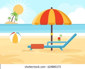 Beach Landscape with Beach Umbrella, Beach Chair, Cocktail and a Ball. Flat Design Style.