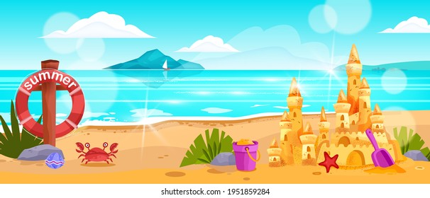 Beach landscape, vector summer ocean horizontal view, surf, crab, sand castle, lifebuoy, rocks, clouds. Tropical paradise vacation background, sea, water, sun flares, towers. Idyllic beach landscape